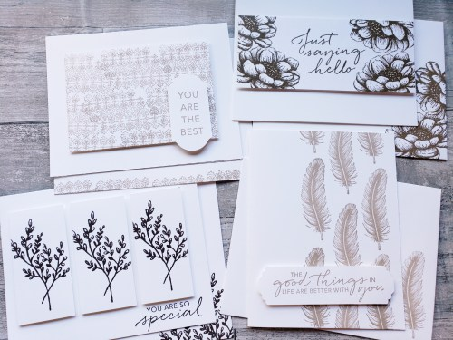 Simple stamping card sets are quick and simple to make, inexpensive, and personal gift ideas! Here's my go-to recipe for simple card sets!