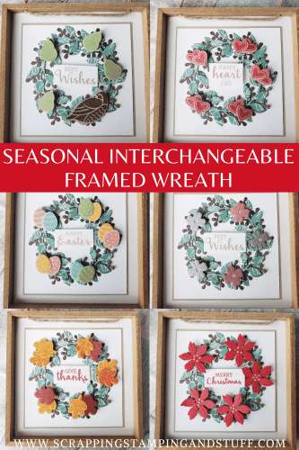 Seasonal Interchangeable Wreath Frame Using Stampin Up Arrange A Wreath Bundle - DIY Farmhouse Decor