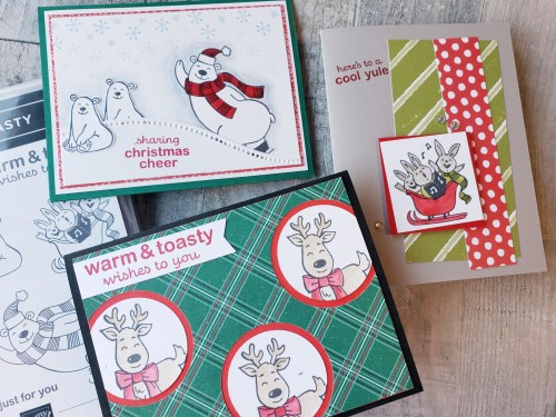Three adorable card ideas made with the Stampin Up Warm & Toasty stamp set, featuring cute polar bears, reindeer, mice, and bunnies!