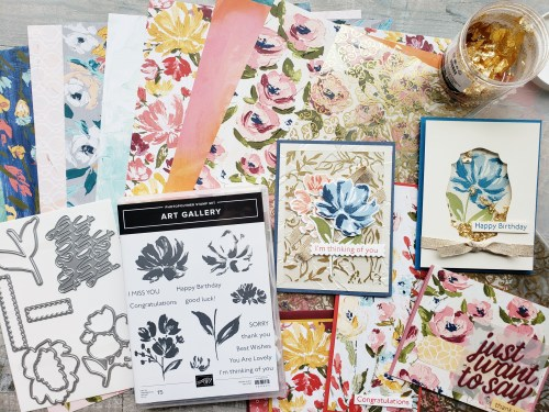 See ten card ideas using the Stampin Up Art Gallery stamp set and Fine Art Floral product suite! Simply gorgeous!