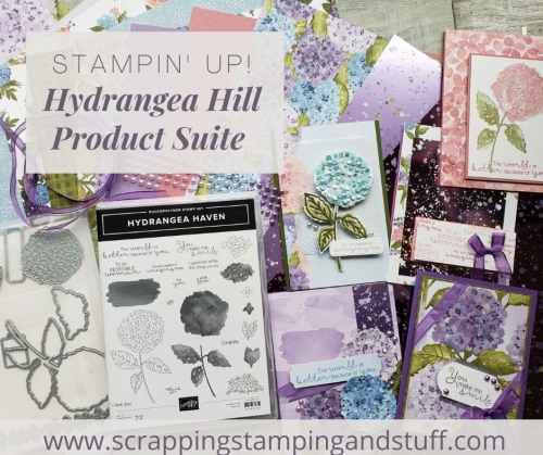 The Stampin Up Hydrangea Haven stamp set and dies make absolutely gorgeous floral cards and other paper projects.