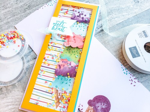 Take a look at how to make this amazing slimline shaker card without special tools or dies!