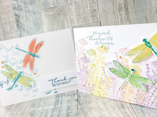 Make stunning nature cards with the beautiful Stampin Up Dragonfly Garden stamp set and punch. See nine sample cards here!