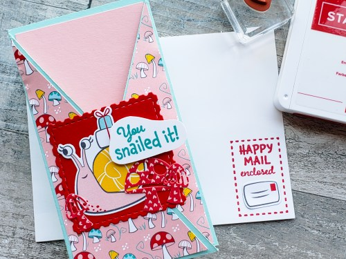 Make this adorable Snailed It fun fold card today with a hidden message inside! A very simple fancy fold card design!