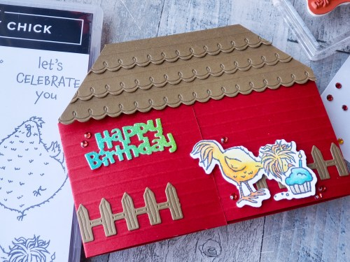 Make this hilarious hen house fun fold pop up card today with the Stampin Up Hey Birthday Chick stamp and die set!