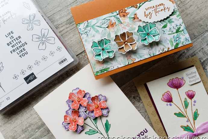Check out this awesome stamp & punch combo called Stampin Up Flowers of Friendship. A quick & easy flower bundle for beautiful floral cards!