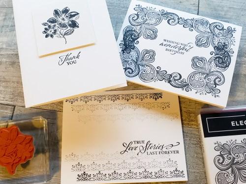 Make these 6 elegant cards in minutes using the Stampin Up Elegantly Said stamp set!