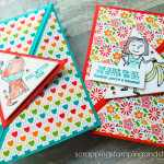 This triangle fold card design featuring the Stampin Up Bunches of Fun stamp set is so much fun, and will most definitely make your loved ones smile!