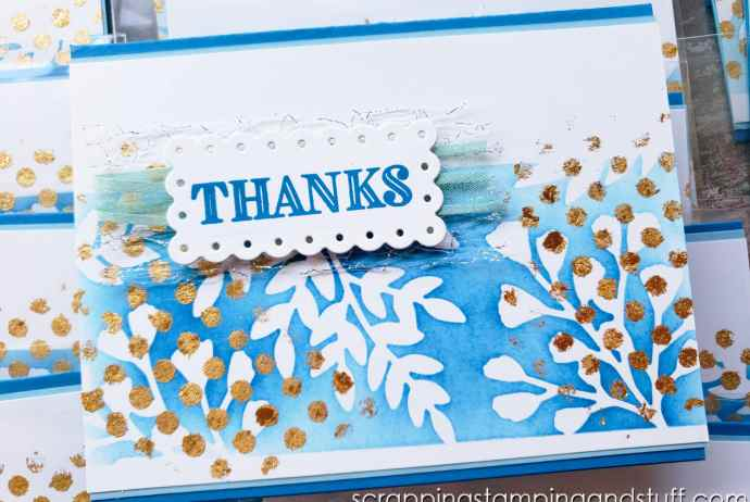 Take a look at this beautiful card project, full of techniques including masking, blending, and applying gilded leafing!
