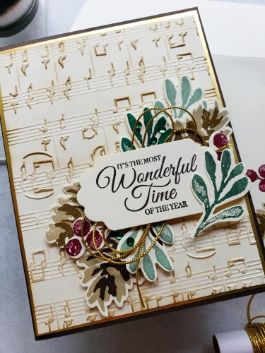 Make this vintage Christmas card highlighting the Stampin Up Christmas Season stamp set, pinecones, and background music.