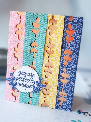 Here's a fun technique for using border punches! Today's card features the Stampin Up Symmetrical Stems border punch. Take a look!