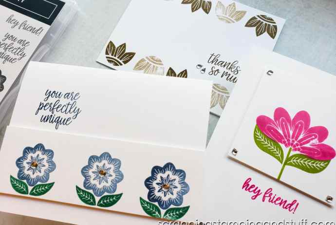 Learn how to make these 3 simple stamping card ideas in minutes using the Stampin Up In Symmetry stamp set!