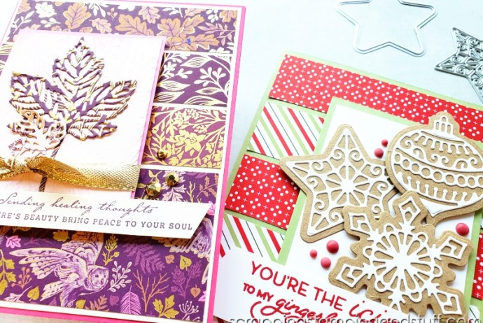 Use this beautiful card design featuring the Stampin Up Frosted Gingerbread bundle to use up your paper scraps today!