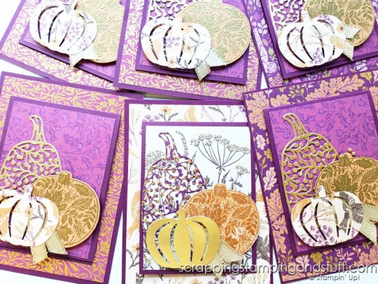 Click for the tutorial for this elegant pumpkin joy fold card featuring the Stampin Up Pretty Pumpkins bundle.