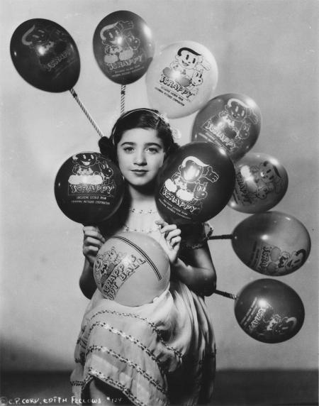Edith Fellows with Scrappy balloons