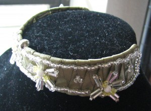 Ribbon and bead cuff with daisies
