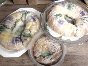 a trio of King cakes