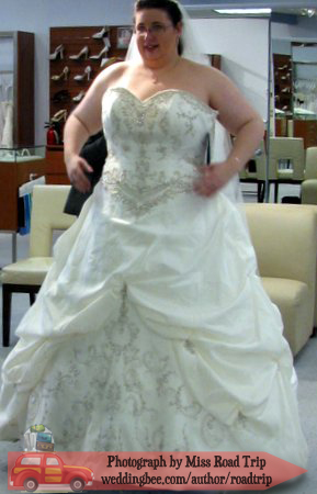 Shiny satin, pick-ups, massive everything and a ballgown--everything I didn't want in a dress, but it was still fun.