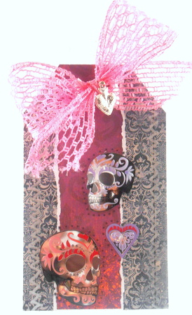 Talking heads skull tag made from Gauche Alchemy's Dia de los Muertos kit