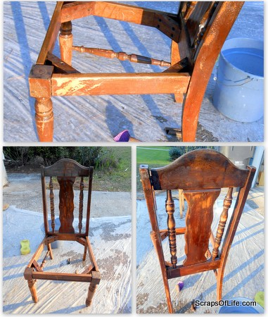 After the first round of stripping and scouring, the chair didn't look that much different!