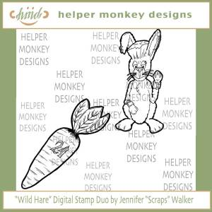 "March Hare Digital Stamp Duo by Jennifer ""Scraps"" Walker"