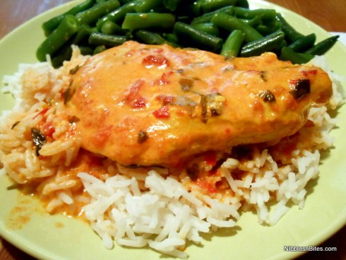 Chicken in Butter Sauce served over Basmati rice with green beans on the side