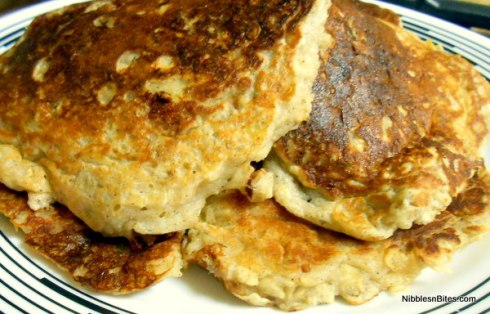 Oatmeal Banana Pancakes--very thick and fluffy when done!
