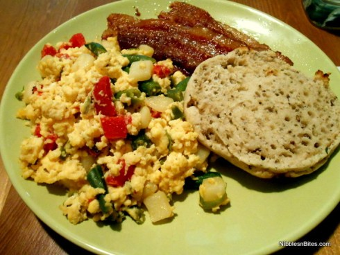 Local Veggie Egg Scramble served with bacon and half a gluten-free English muffin