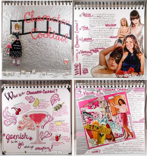 The cover and first 3 pages of my Right Brain Business Plan for the Character Cocktail. Lots of pink, lots of collage elements, and lots of fun!
