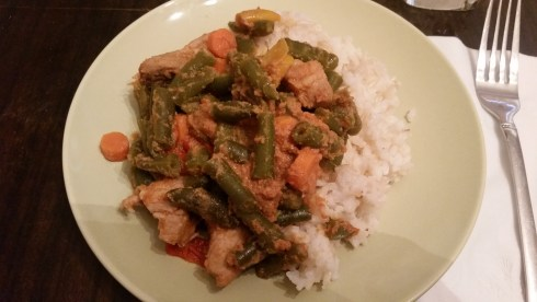 Pork and Veggies, with extra Veggies, over Rice