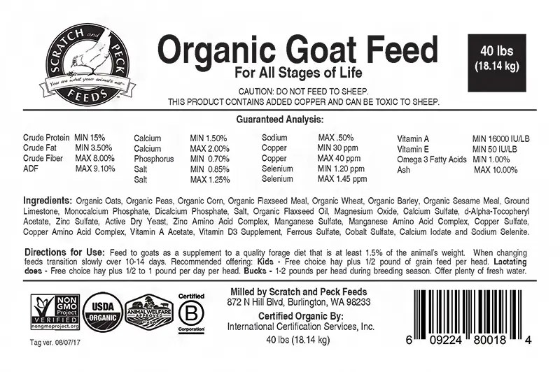 Organic Goat Feed | Scratch and Peck Feeds | Certified