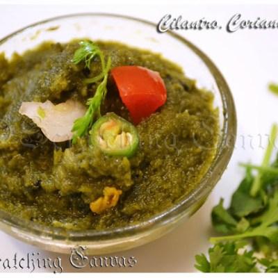 Bengali Dhonepatar Chatni : Cilantro or Coriander Leaves Sauce/ Dip