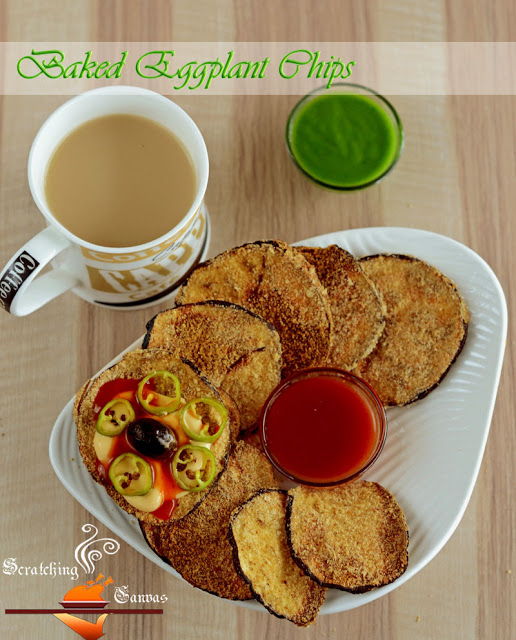 Oil Free Baked Eggplant Chips