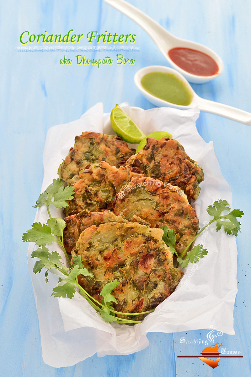 Dhone patar Bora | Coriander Fritters | Scratching Canvas