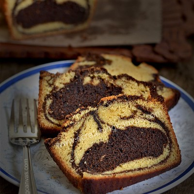 Espresso Chocolate Marble Cake | No Bake No Oven Marble Cake | Chocolate Swirl Bread