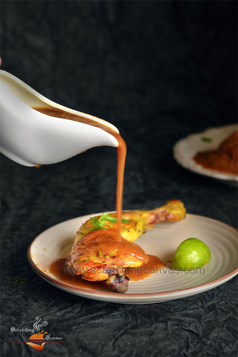 Turmeric Chicken Roast Cherry Sauce Pouring Food Photography
