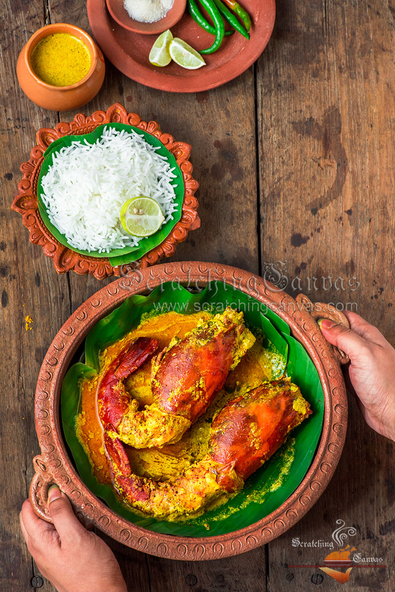 Bengali classic Shorshe Chingri Bhapa Food Styling Photography