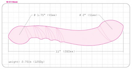 Size and dimensions of the njoy eleven steel dildo