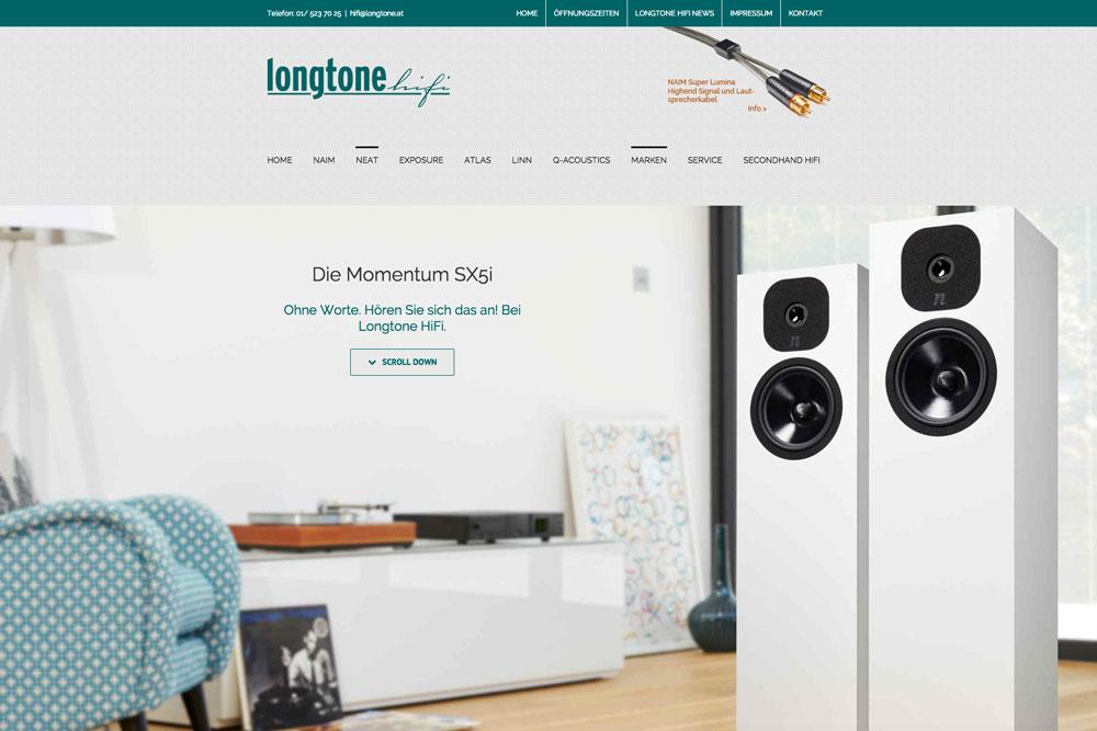Homepage der Firma Longtone HiFi in Wien