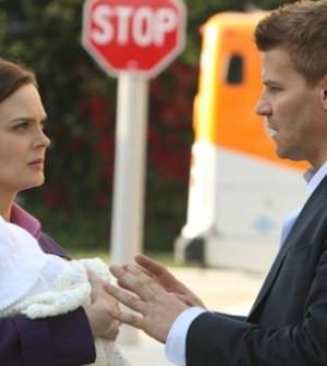 Emily Deschanel and David Boreanaz on BONES. © 2012 Fox Broadcasting Co.  Cr:  Patrick McElhenney/FOX