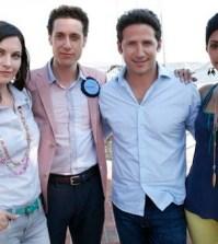 Jill Flint, Paulo Costanza, Mark Feuerstein, and Reshma Shetty in ROYAL PAINS (Photo © USA Network)