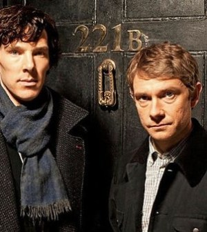 Benedict Cumberbatch (l) and Martin Freeman (R) in BBC's Sherlock. Image © BBC