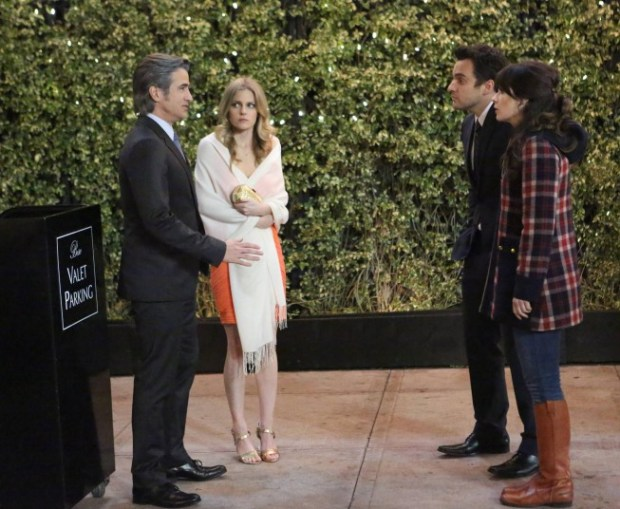 """Jess (Zooey Deschanel, second from R) and Nick (Jake Johnson, second from R) run into Russell (guest star Dermot Mulroney, L) and his date, Brandy (guest star Chelsey Crisp, second from L), in the """"First Date"""" episode of NEW GIRL airing on a special night, Thursday, April 4 (9:00-9:30 PM ET/PT) on FOX.  ©2013 Fox Broadcasting Co.  Cr:  Adam Taylor/FOX"""