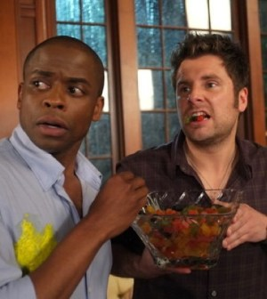 Dule Hill as Gus Guster, James Roday as Shawn Spencer -- (Photo by: Alan Zenuk/USA Network)