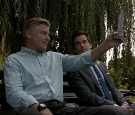 James and Neal (Treat Williams, Matt Bomer) discuss the Empire State Building heist (Image © USA Network)
