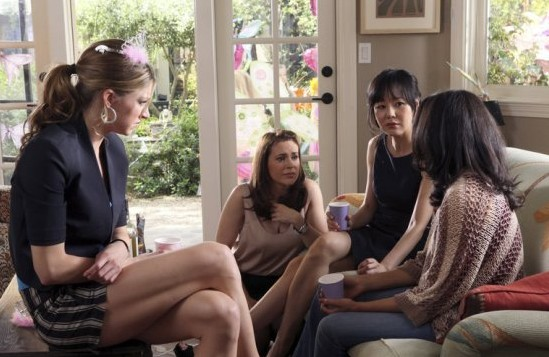 Alyssa Milano as Savannah, Yunjin Kim as Karen, Rochelle Aytes as April, Jes Macallan as Josslyn -- Photo: Danny Feld/ABC -- © 2013 ABC