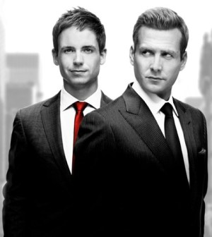 (l-r) Patrick J. Adams and Gabriel Macht in Suits. Image © USA