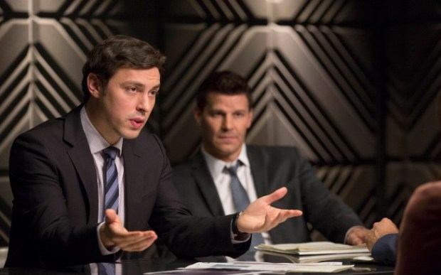 "Pictured:  Sweets (John Francis Daley, L) and Booth (David Boreanaz, R) in ""The Fury in the Jury"" Cr:  Jennifer Clasen/FOX"