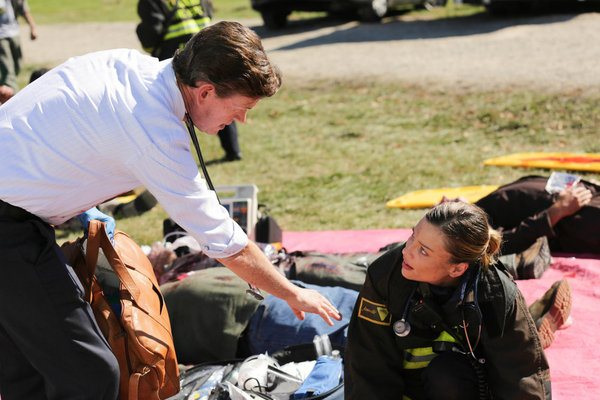 Pictured: (l-r) Dylan Baker as Arata, Lauren German as Leslie Shay -- (Photo by: Elizabeth Morris/NBC)