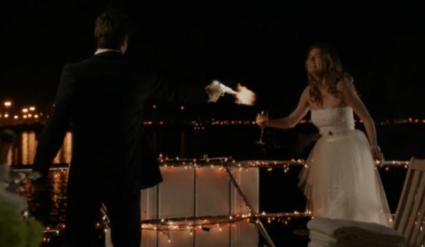 The Shooter Revealed: (L) Josh Bowman as Daniel Grayson. (R) Emily VanCamp as Emily Thorne.